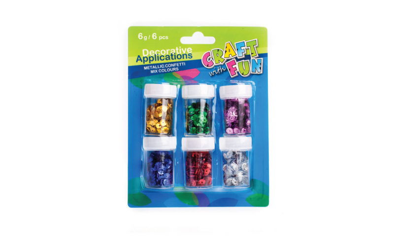 CRAFT with FUN Sequins 6 Tubs x 6g Carded (New Lower Price for 2021)