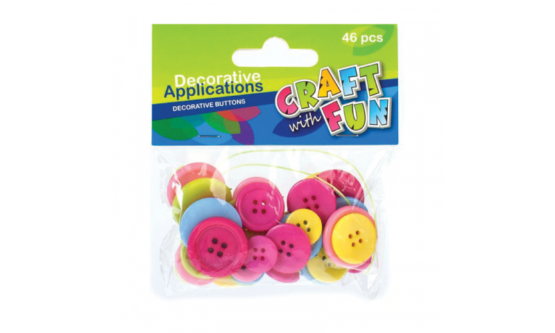 CRAFT with FUN Assorted Size & Colour Buttons 46Pcs.  (New Lower Price for 2021)
