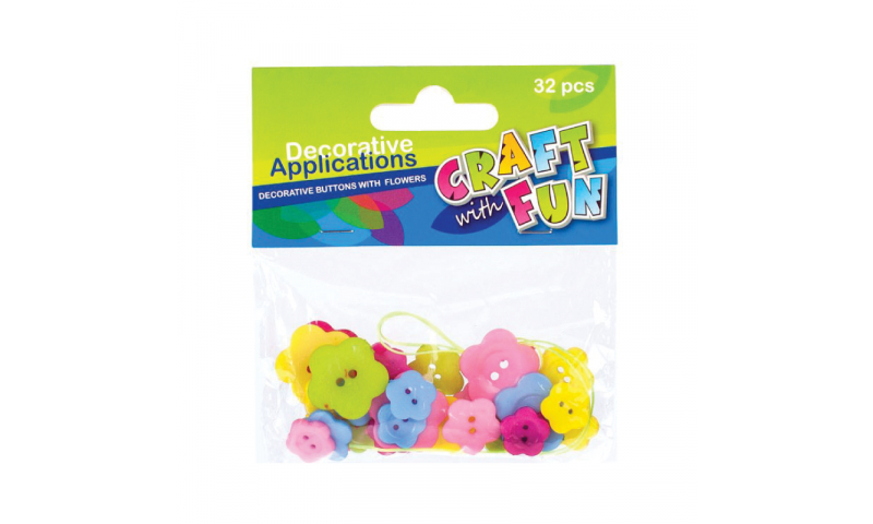 CRAFT with FUN BUTTONS  ASSTD FLOWERS 32PCS  (New Lower price for 2021)