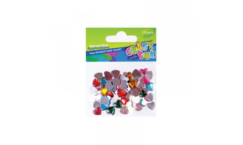 Craft with Fun  Rhinestone Hearts, Asstd Colours, 75pk (New Lower Price for 2021)