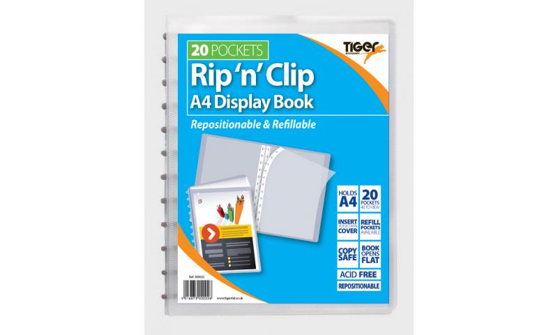 Tiger 20 Pocket A4 Rip'n'Clip Display Book (SUMMER SALE SPECIAL)