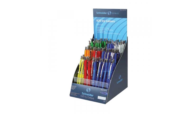 Schneider  K20  ICY Transparent Ballpen Refillable, Display of Asstd Colours, Blue Ink