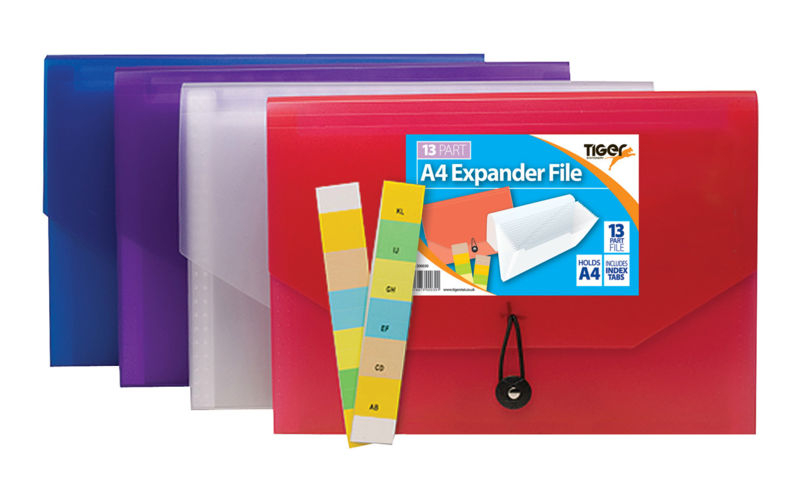 Tiger A4 Bright 13 Part Polyprop Expander File - 4 Assorted, Indexable Tabs