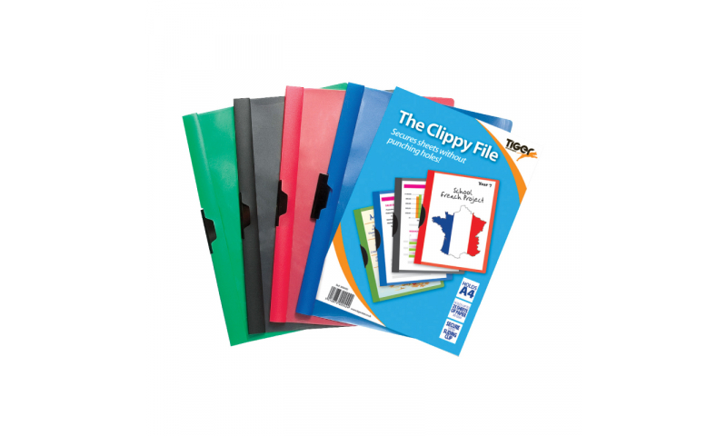 Tiger ECO A4 Clippy Slide Files, 25 Sheet capacity, 4 asstd. (New Lower Price for 2021)