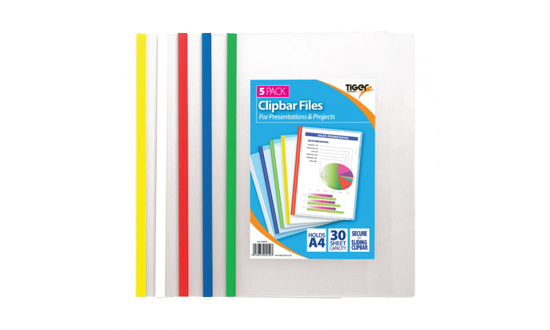 Tiger Slim Slide Bar Files A4 30 Sheet Capacity, Clear Front & Back, Asstd, 5 Pack.  (New Lower price for 2021)