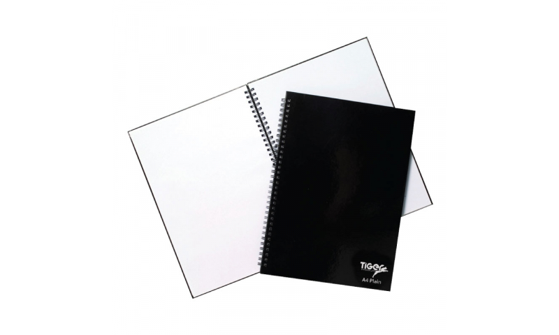 Tiger Twin Wire bound A4 Primary Colours, Plain Paper Notebooks, 60 Sheets, 80g.