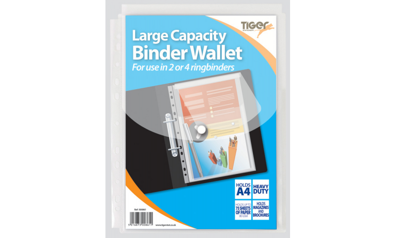 Tiger Large Capacity Multipunched A4 Stud Wallet, 75 Sheet capacity (New Lower Price for 2021)