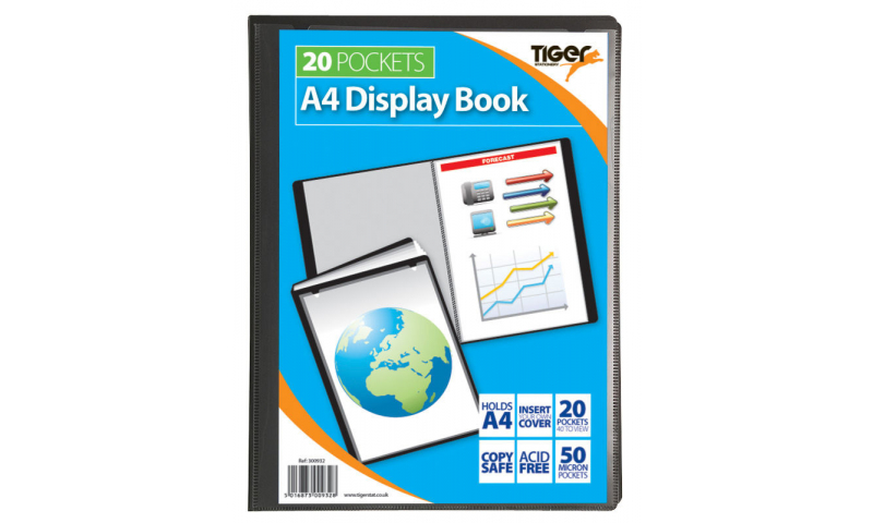 Tiger ECO A4 20 Pocket 100% Recycled Presentation Display Book. (New Lower Price for 2021)