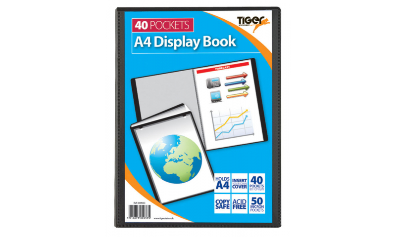 Tiger A4 40 Pocket 100% Recycled Presentation Display Book. (New Lower Price for 2021)