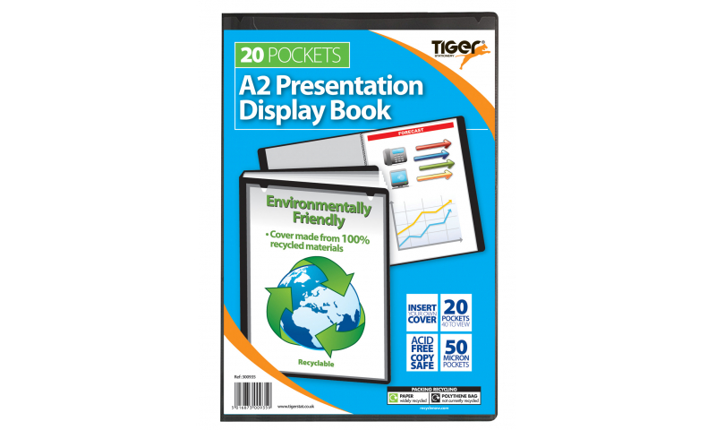 Tiger ECO A2 Presentation Display Book, 20 Pocket, Recycled