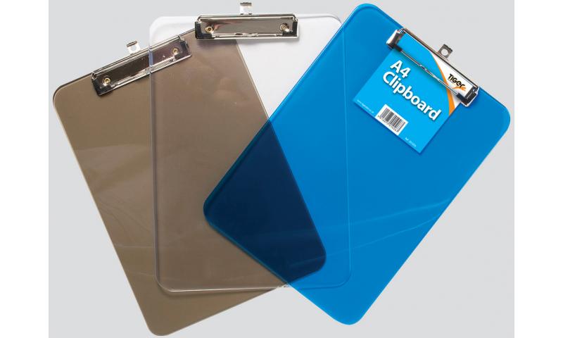 Tiger A4 Moulded Polystyrene Clipboard, 3 Translucent Colours
