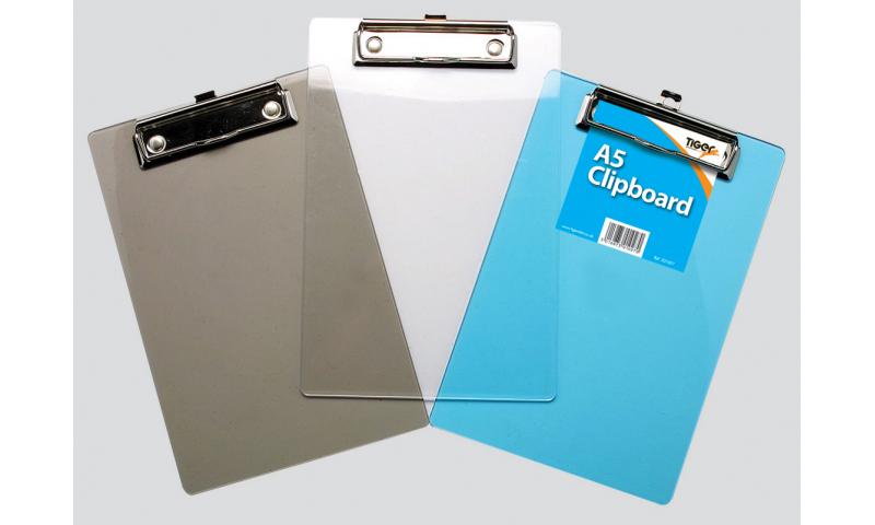 Tiger A5 Moulded Polystyrene Clipboard, 3 Translucent Colours