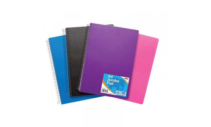 Tiger Wirobound A4 Jumbo Ruled Notebooks, 200 Sheets, Perforated, 600 mic Polyprop Cover 4 Asstd.