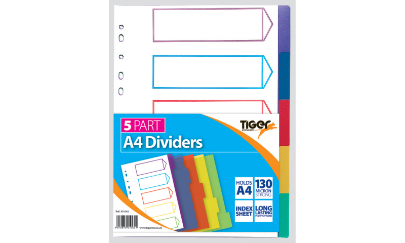 Tiger A4 5 Part Polypropylene Coloured Dividers (New Lower Price for 2021)