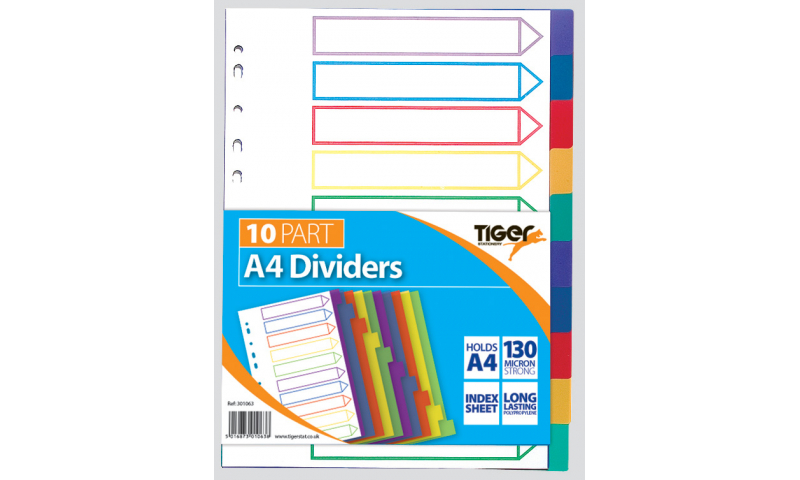 Tiger A4 10 Part Polypropylene Coloured Dividers (New Lower Price for 2021)