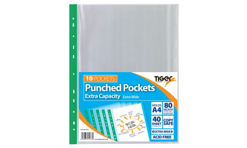 Tiger ECO A4 Multipunched Pockets, Heavy 80 Micron, with Extra Capacity for 40 Sheets, 10 Pack (New Lower Price for 2021)