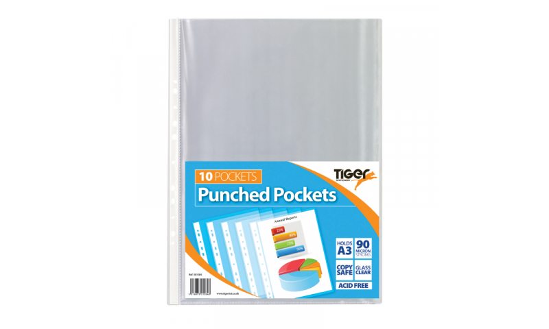 Tiger ECO A3 Glass Clear Punched Pockets, Portrait, 90mic, Pack of 10 (New Lower Price for 2021)
