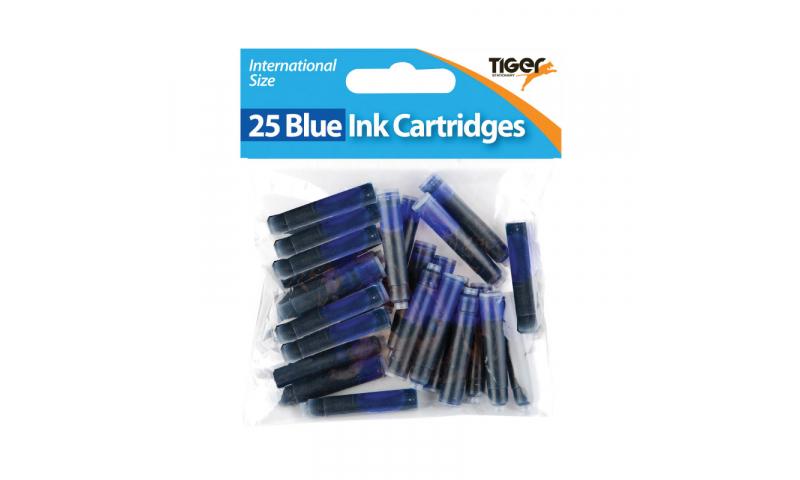 Tiger European Ink Cartridges, Bag of 25, Hangpacked, Blue.