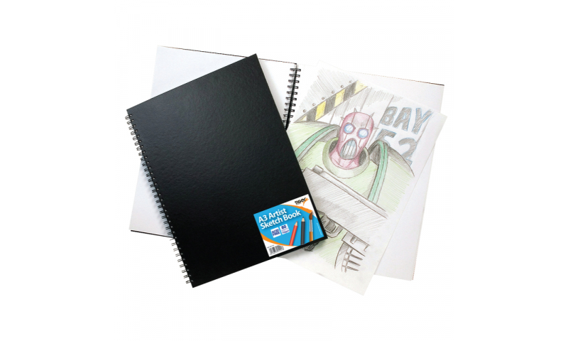Tiger A3 Wiro Bound Artist Sketch Book, 80 Sheets perforated 110gsm Acid Free Pages.