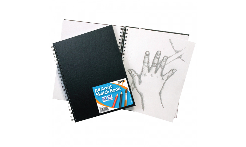 Tiger A4 Wiro Bound Artist Sketch Book, 80 Sheets perforated 110gsm Acid Free pages.