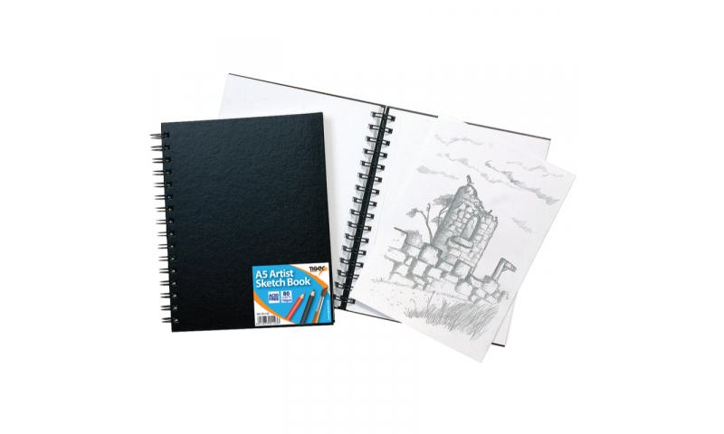 Tiger A5 Wiro Bound Artist Sketch book, 80 sheets perforated 110gsm Acid Free Pages.