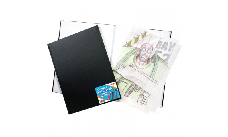 Tiger Case Bound A3 Wiro Bound Artist Sketch Book, 80 Sheets perforated 110gsm Acid Free Pages.