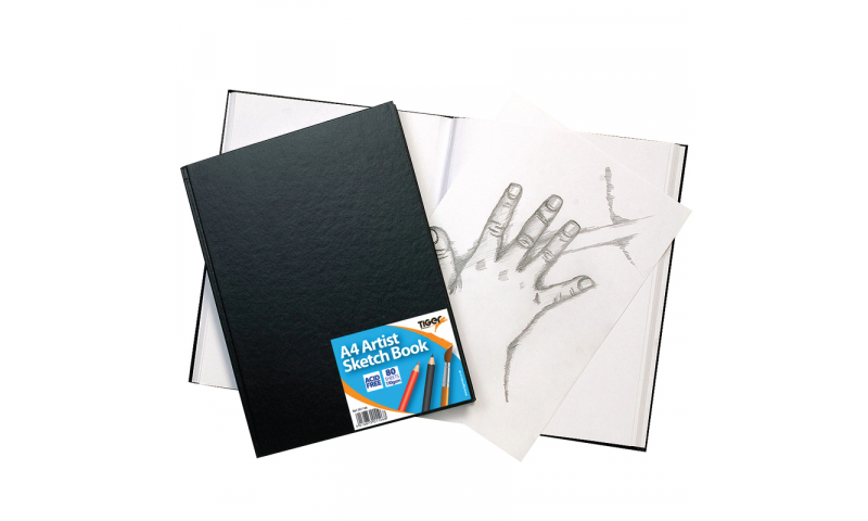 Tiger Case Bound A4 Wiro Bound Artist Sketch Book, 80 Sheets perforated 110gsm Acid Free pages. (New Lower price for 2021)