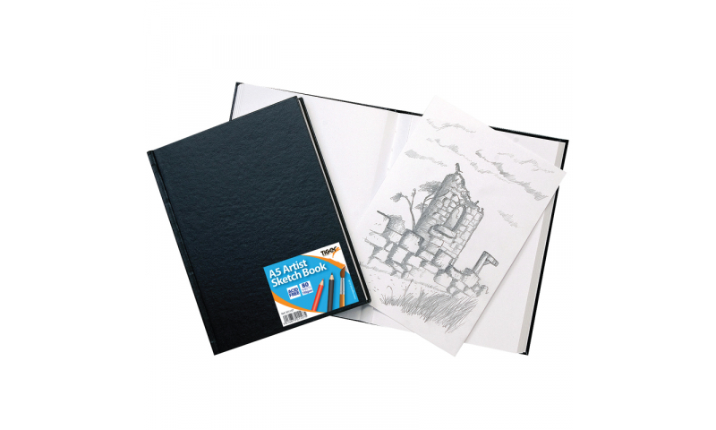 Tiger Case Bound A5 Wiro Bound Artist Sketch book, 80 sheets perforated 110gsm Acid Free Pages. (New Lower Price for 2021)