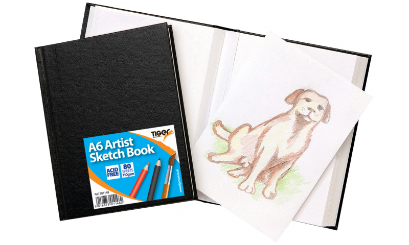 Tiger Casebound A6 Artists Sketch Books, 80 Sheets, 110g, Perforated