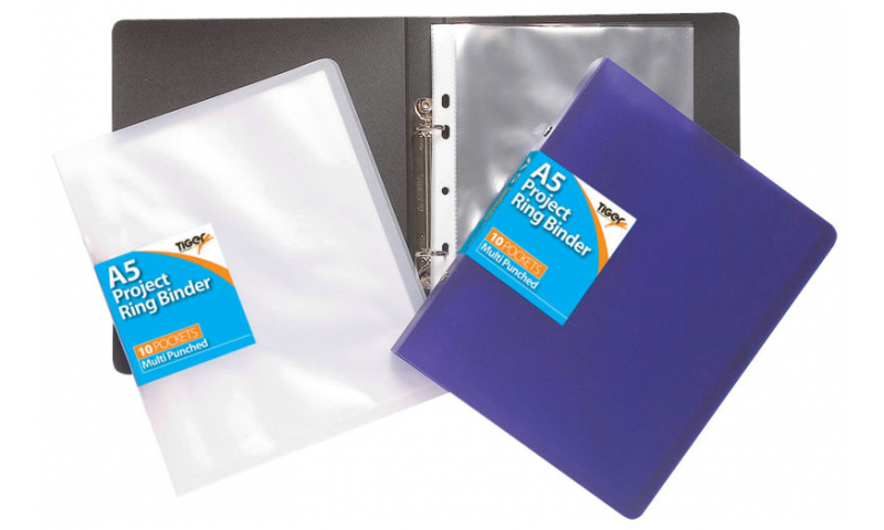Tiger A5 Slim P/Prop Project Ringbinder with 10 Pockets - Assorted (New Lower Price for 2021)