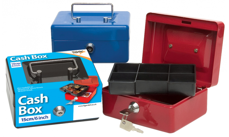 """Tiger 6"""" Steel Cash Box, Metal handle, 2 Keys, Removable 6 compartment tray, 3 Asstd Colours."""