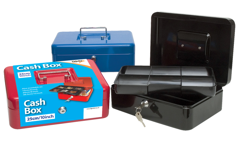 """Tiger 10"""" Steel Cash Box, Metal handle, 2 Keys, Removable 6 compartment tray, 3 Asstd Colours."""