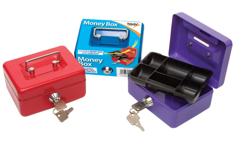 """Tiger Metal Locking 5"""" Money Box with cash Tray & top Slot, Asstd. (New Lower price for 2021)"""