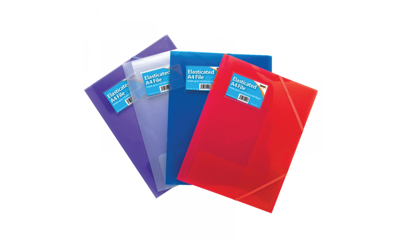Tiger A4 Poly-Prop Clearview Elasticated 3 Flap Files, 100 sheet capacity, 4 Asstd.  (New Lower price for 2021)