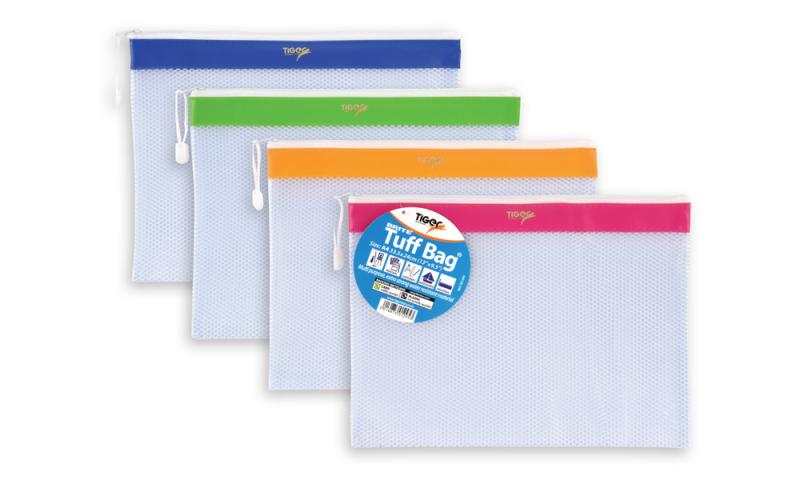 Tiger Mesh Tuff Bag, Bright & Light A4+ (335 x 240mm) 4 Asstd Colours