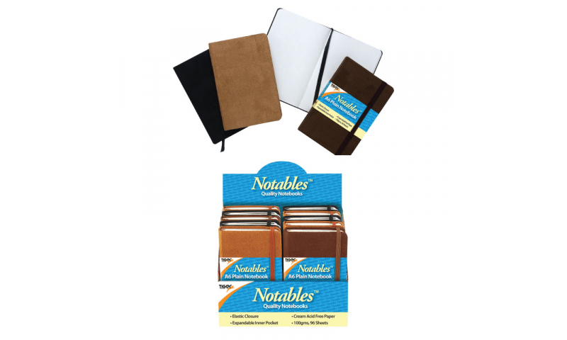Tiger A6 Elastic Strap Executive Notebooks, PLAIN, 96 sheets, 100gsm in display, Asstd Colours.