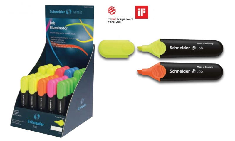 Schneider Job Chisel Highlighter with Clip, in Display