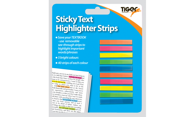 Tiger Highlighter Strips, Pack of 200, 5 Neon Colours