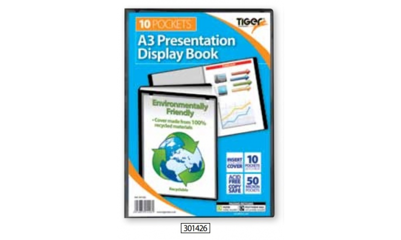 Tiger ECO Recycled A3 Presentation Display Book, 10 Pocket. (New Lower Price for 2021)