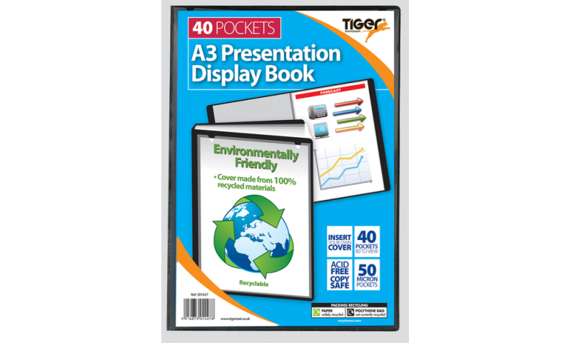 Tiger Recycled A3 Presentation Display Book, 40 Pocket. (New Lower Price for 2021)