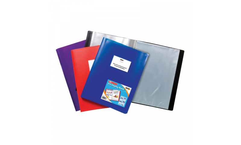 Tiger Eco Flexicover Display Book, A4 40 Pocket asstd colours. (New Lower Price for 2021)