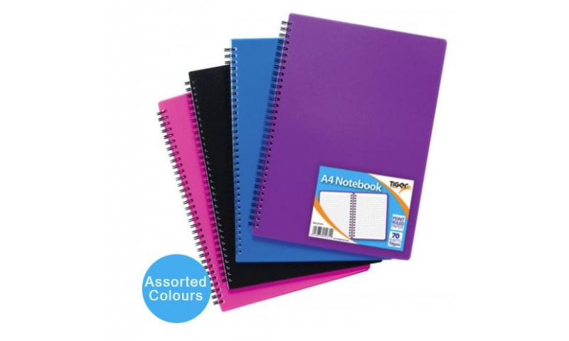 Tiger A4 P/Prop Cover Notebook, 70g Paper, 5 Asstd