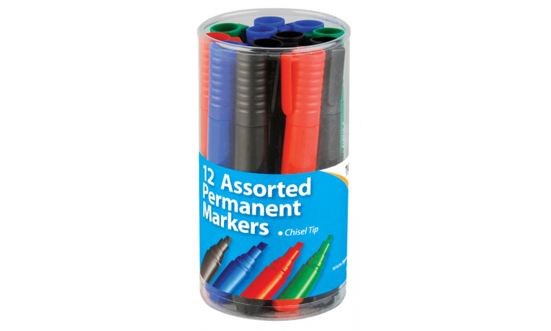 Tiger Chisel Tip 4mm Permanant markers, 4 Asstd in Tub.