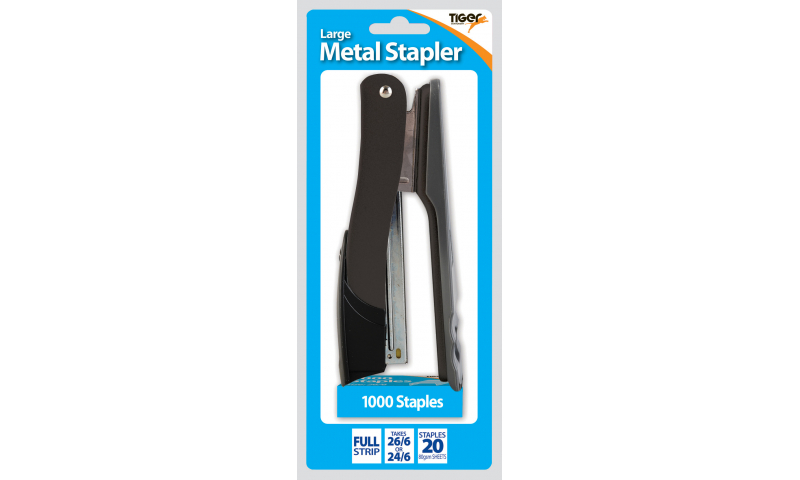 Tiger Large Metal Full Strip Stapler, assorted colours. Retail Hangpacked
