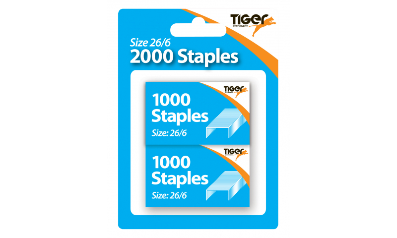 Tiger 26/6 (No56) Universal Staples, 2 x 1000 Blister Hangpack.
