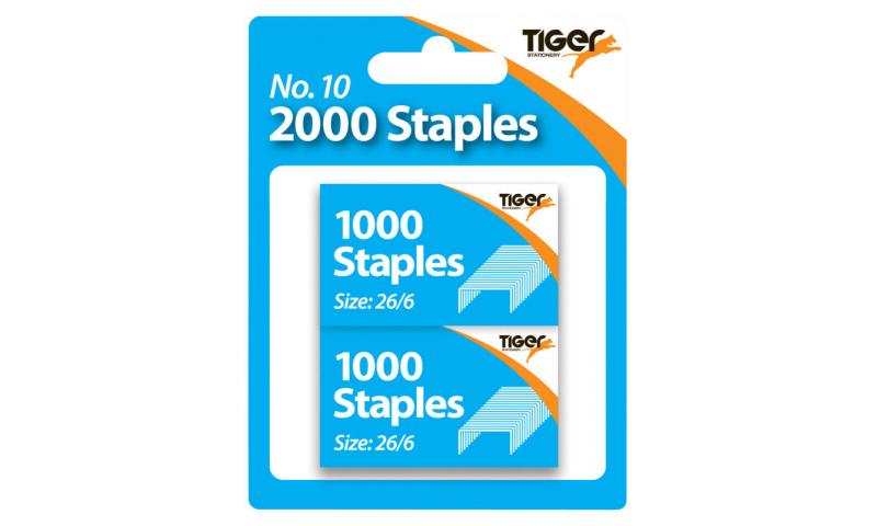 Tiger No:10 Pocket Stapler refill Staples 2x1000 pk, Hangcarded