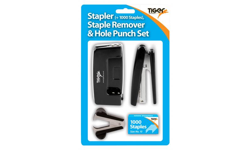 Tiger Stapling Set, No10 Stapler & Staples, Staple Remover & Student Punch Set, Carded