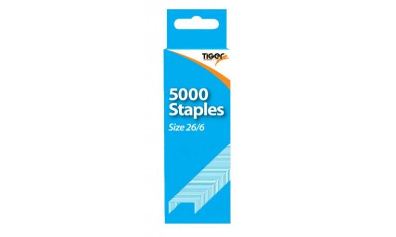 Tiger 26/6 Staples, 5000 Box, Hangpacked, (No 56)