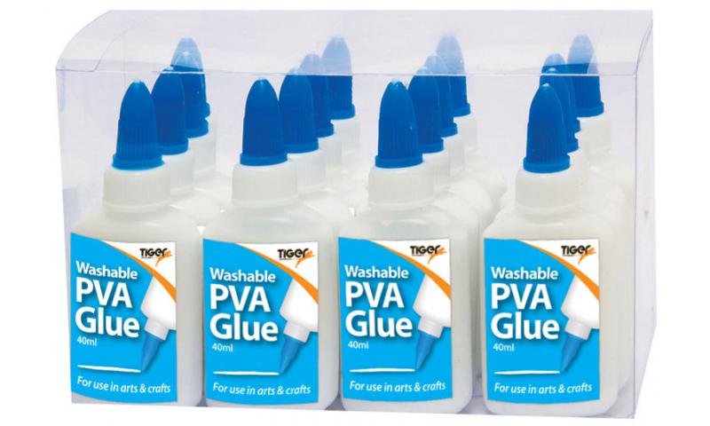 Tiger Washable PVA Glue, 40ml Bottle with Anti Clog Dispenser Cap