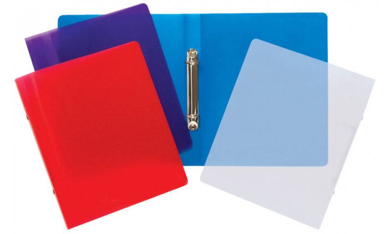 Tiger A5 Clearview Tinted P/Prop Ring Binder 20 mm Spine, 4 Asstd